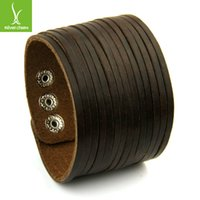 Wholesale 2014 New Arrival Leather Cuff Wide Bracelet and Rope Bangles Brown for Men Fashion Man Braclets Jewelry PI0295