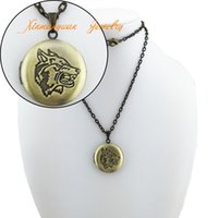 wolf jewelry - pieces antique bronze brushed vintage metal copper round shape wolf carved photo locket pendant necklace jewelry ln42