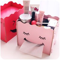 Wholesale DIY Multifunctional Tissue Box Cute Smiley Wooden Paper Box Cover Decorative Table Napkin Holders