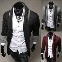 Wholesale 2014 new fashion slim men s Sweaters Cardigan Casual men s clothing Splice Lapel mens s Sweatshirts dark gray