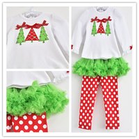 Wholesale New Arrivals Girls sets T shirt Leggings Christmas Designs Leggings with Tutu Girls Fashion Long Sleeve T shits Autumn Designs Clothing