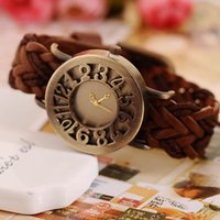 Wholesale Russia is selling leather woven hollow stereo literal retro ladies quartz watch Lady Bracelet Watch