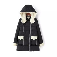 sequin applique patch - E138061 Winter Korean fashion plush double pocket stitching hooded padded cotton jacket A female character P0087