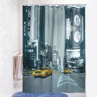 Wholesale New York Street Pattern Shower Curtain Bathroom Waterproof Fabric Hooks AF0159