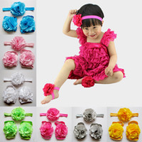 Wholesale 2015 Fashion Baby Sandals Flower Shoes Cover Barefoot Foot Flower Ties Infant Headbands Girl Kids First Walker Shoes Photography Props M327