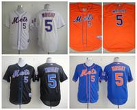 Wholesale Cheap New York Mets Wright Mens Baseball Jerseys White Orange Blue Embroidery MLB Athletic Shirt Cool Base Football Jersey M XXXL
