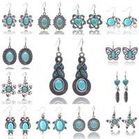 Wholesale Earings for Women Korean Fashion Jewelry Tortoise Sapphire Gemstone Big Long Dangle Geometric Drop Earrings Statement Bohemian Earrings