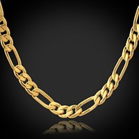 Chains 18k gold chain for men - fashion L stainless steel K gold plated figaro chain necklaces for men SP00808