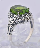 Wholesale New retro exaggerated peridot ring sterling silver fashion costly gem ring jewelry