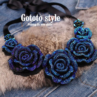 ad necklace - Charm Rose Flower Ribbon Gem Neon Ad False Collar Bib Shourouk Statement Necklaces amp Pendants New Fashion Jewelry For