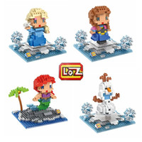 Wholesale Snow Girl Anna Elsa Olaf and Kristoff Action Figure Toy Funny Building Mini Blocks Birthday Present Gift for Girl