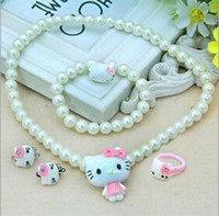 Wholesale Pearl necklaces rings hair accessories bows Set Holle KT Jewelry Bracelet Fashion Girls Beads Girls Jewelry Set Kids Ornaments