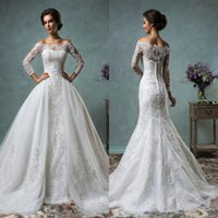 Model Pictures One-Shoulder Chiffon 2016 Amelia Sposa Mermaid Wedding Dresses Sexy Lace Appliques Bridal Gowns with Detachable Ball Gowns Bolero Wraps Long Sleeves AS2015