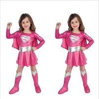 Wholesale Halloween Costume for girls Cosplay Baby Girls halloween supergirl children kids show girls supergirl costume Role Play Girls Dress Set HC19