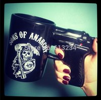 Wholesale Coffee Cup Pistol Handle - Free Shipping 1Piece 15oz Sons of Anarchy Gun Handle Ceramic Coffee Mug Ceramic Pistol Cup