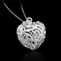 Wholesale Factory price Sterling silver hollow heart pendant necklace fashion jewelry Valentine s Day gift for girls