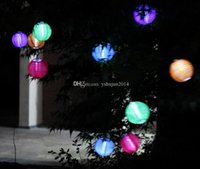 Cheap Chinese lanterns Style LED Solar Lamps Paper Lantern Garden Courtyard Ball Light for Christmas Wedding Party Decorations supplies