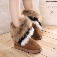 in style shoes - Winter Boots Womens and Big Girl s Korean Style Warm Shoes High Long Snow Boots Artificial Rabbit In tube boots with flat boots Ms Women B
