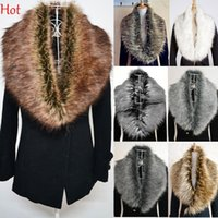 Wholesale 2015 Top Hot Womens Shrug Winter Fashion Faux Fur Collar Scarf Warm Shawl Wrap Cape Big Fur Neck Collars For Coat Jacket SV007265