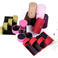 Wholesale Fashion women gift box jewelry box packaging organizer display velvet cylindrical casket holder accessories boxes