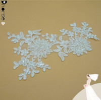beaded applique wholesale - Beaded Bridal Appliques DHLF1602 Sequin Beaded Lace Applique Flower Headband Embroidery Sewing lace Applique For Wedding Shoes