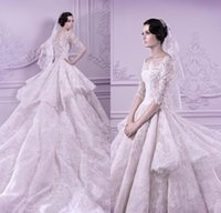 Wholesale Vintage Spring Michael Cinco Wedding Dresses With Sleeveless Lace Bridal Gowns Ruffles Cap Sleeve Chapel Train Gorgeous Bride Gowns