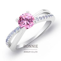 diamond ring - Women gift ring white red pink cubic crystal ring fashion shinning CZ diamond gemstone sterling silver wedding rings SR0676