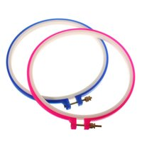 Wholesale 2pcs set New Blue And Pink Plastic Punch Needle Hoop Embroidery Tool DIY Sewing Tool Accessories cm x cm quot x7 quot