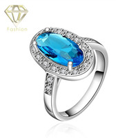 aquamarine platinum ring - Aquamarine Ring New Fashion Platinum Plated Oval Inlaid Cubic Zirconia Blue Crystal Charm Wedding Rings Jewelry for Women