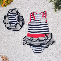 Wholesale 2016 Happy Kids Girls Swimwear Sailor Bikini Spa Dress Swimsuit Hat Dark Blue Summer