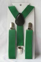 Wholesale St Patricks Day Suspenders St Pattys Suspenders Green Suspenders Wear Match With Shamrock Bow Tie
