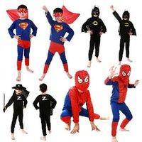 Wholesale 3PCS Children Halloween custom party clothes suit Spiderman superman zorro Showtime clothing stage performance clothes child kids Batman set