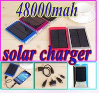 Wholesale 48000mah solar charger power bank Dual USB ports mah solar panel V A W Travel battery for iPhone Samsung High Capacity