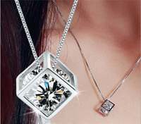Wholesale Love Hearts and Arrows sterling silver necklace silver jewelry Cube Pendant female Korean Korean jewelry