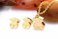 Wholesale Retro silver plated Titanium steel bear jewelry set little bear Stud earrings bear necklace women collar pendientes del oso
