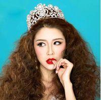 hair sparkle - Luxurious Junoesque Sparkle Pageant Crowns Rhinestones Wedding Bridal Crowns Bridal Jewelry Tiaras Hair Accessories shiny bridal tiaras