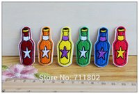 beer patches - 6 colour beer bottle iron on patches cloth Patch cartoon embroidered pantch DIY Applique Badge