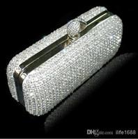Wholesale Vintage New Style Wedding Bridal Party Ladies Silver Handbags Crystal Rhinestone Designer Ring Swarovski Shoulder Wallet Purse Makeup Kit