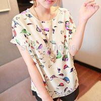 Cheap Batwing Birds Blouse Shirt Best Summer Loose Printed Shirts