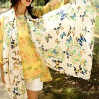 Wholesale Special Chiffon Women Butterfly Print Neck Shawl Scarf Scarves Wrap Stole Warm