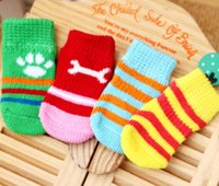 Wholesale 4 Set HQ Colors Pet Small Dog Warm Soft Knits Sock Anti Slip Skid Socks Bottom