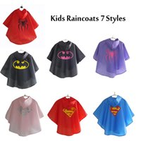 Wholesale 7 styles Kids Rain Coat children Raincoat Rainwear Rainsuit Kids Waterproof Superhero Raincoat hot selling G185