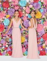 Wholesale Sheath Bridesmaid Dresses Ronald Joyce Floor Length Pink Chiffon Backless Sleeveless Crystal Sash Ruched Prom Dresses