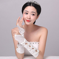 Wholesale Delicately Bow Hollow Fingerless Beaded Below Elbow Length Wedding Bridal Glove Bridal Accessories bridesmaid Gloves