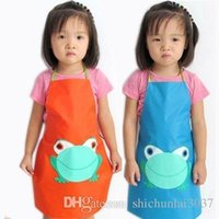 Wholesale New Cute Kids Child kitchen apron Children Waterproof Apron Cartoon Frog Printed Painting Cooking Apron TY299