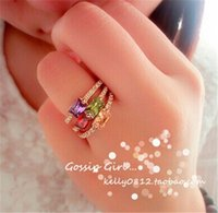 amethyst value - 2015 Korean explosion models red diamond and gold inlay micro Korean female ring generous Value