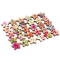 Cheap Colorful Wood Fasteners Flower Pattern Button Star Shape 100pcs DIY Sewing Accessories Fastener