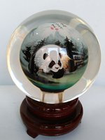 antique home decoration - 2016 New Chinese glass crystal ball inner Kung Fu Panda miniatures as decoration and gift artwork