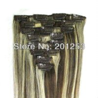 Wholesale Brown and Blonde Mixed quot Remy Human Hair Made Clip in on Hair Extenisons g set set set