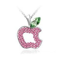 Wholesale Yiwu high end jewelry fashion jewelry hollow apple crystal necklace pink Pendant